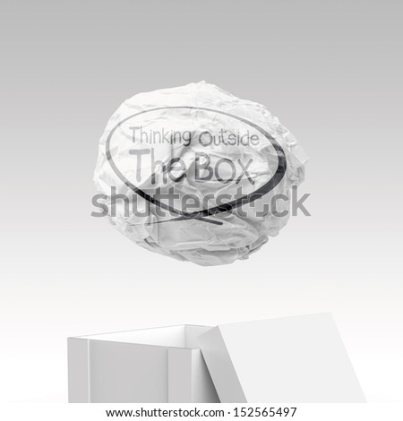 hand drawn think outside the box as concept - stock photo