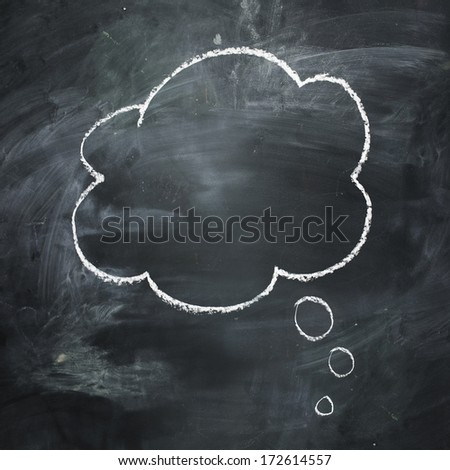 Hand drawn thought bubble on a dark dark chalkboard. - stock photo