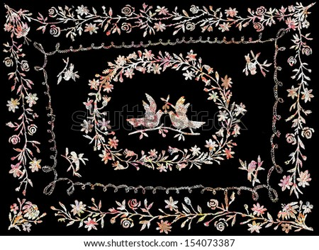 Hand drawn traditional Slavic embroidery illustration with flowers and pigeons  - stock photo