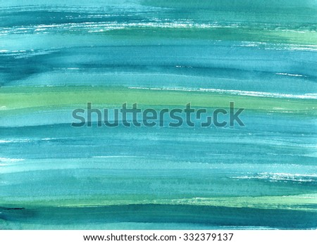 Hand drawn turquoise blue watercolor abstract paint texture. Raster splash background. - stock photo