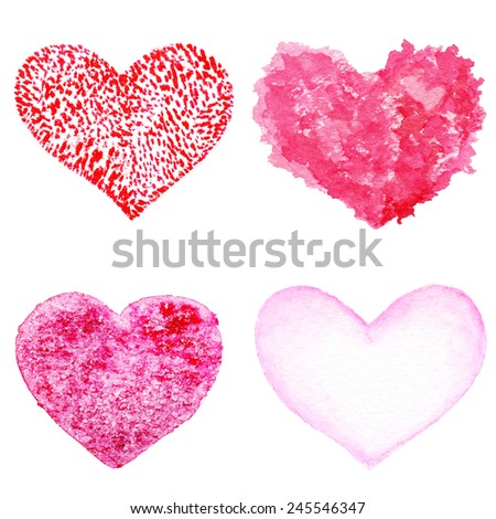 Hand drawn Valentine's day hearts set. Design elements - Collection of Abstract Red love heart shape symbols. Vintage Grunge hearts.  - stock photo