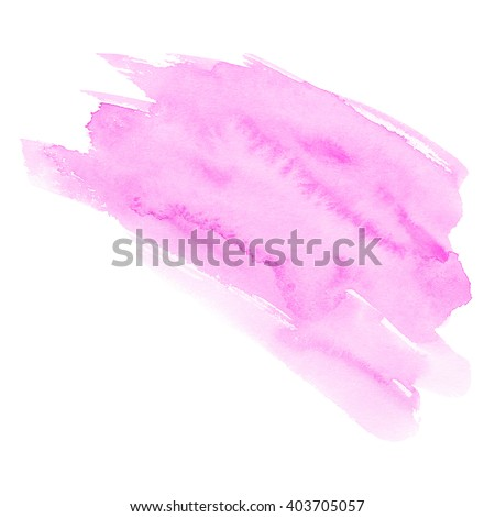 Hand drawn watercolor background of pastel natural delicate shade. A watercolour spot. Gentle magenta color. It is possible to use for wrap, wallpaper, website, decor. Isolated on white background. - stock photo