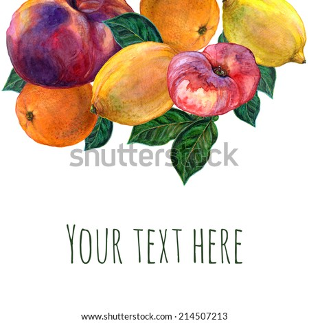 Hand drawn watercolor background, raster illustration, fruits and leaves on white paper. Group of peaches, lemons, oranges with place for text. Watercolor composition for scrapbook elements - stock photo