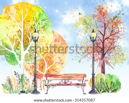 Hand drawn watercolor background with autumn park: trees, shrubs, bench and lanterns, on the blue sky - stock photo
