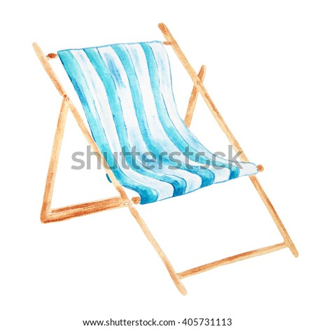 Hand drawn watercolor beach chair isolated on white background. - stock photo