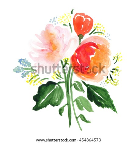 Hand drawn watercolor bouquet with roses, leaves and abstract flowers isolated on a white background. Flowers and plants. Perfect for wedding, holidays, invitation, birthday - stock photo