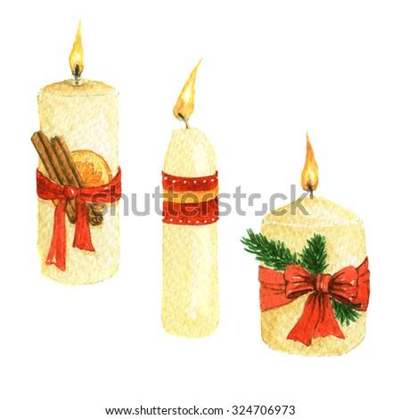 hand drawn watercolor Christmas candles  - stock photo