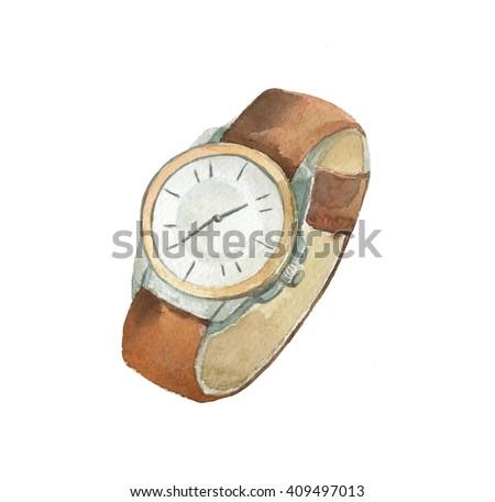 Hand drawn watercolor clock - stock photo