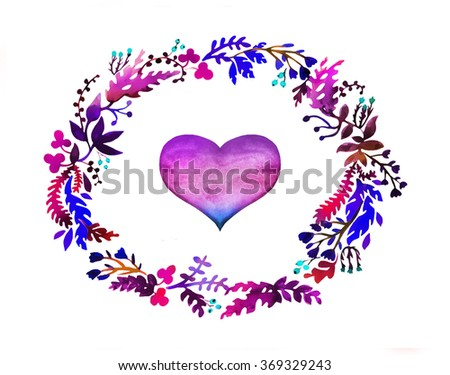 Hand drawn watercolor colorful circular floral wreaths - stock photo