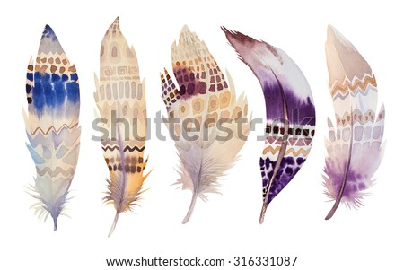 Hand drawn watercolor feather set. illustration isolated on white. Design for T-shirt, invitation, wedding card. Bright colors. - stock photo