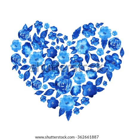 Hand drawn watercolor heart shape made of blue flowers and leaves. Elegant heart shaped form. Beautiful illustration for wedding invitations, valentine's day cards, or just to say 'I love you'  - stock photo