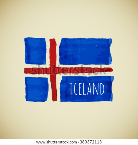 Hand drawn watercolor Iceland flag with sample text, Iceland state symbol, Iceland stock image - stock photo