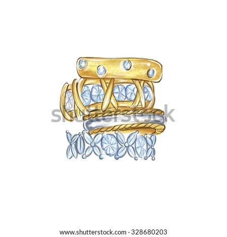 hand drawn watercolor illustration - Diamond and gold rings - stock photo