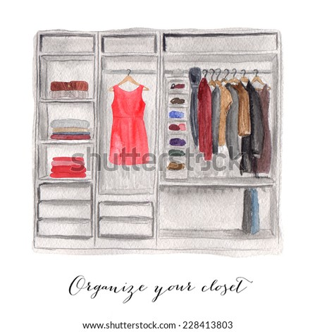 Hand drawn watercolor illustration of closet. - stock photo