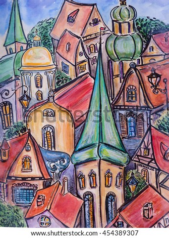 Hand drawn watercolor illustration of old town - stock photo