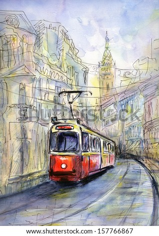 Hand drawn watercolor  illustration of old tram in sketch style - stock photo