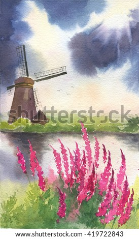 Hand drawn watercolor landscape with mill and flower - stock photo