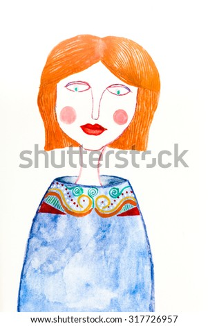 hand drawn watercolor painting of red headed woman on white background - stock photo