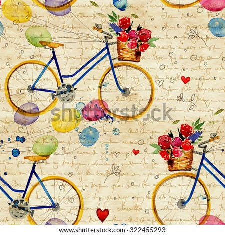 Hand drawn watercolor pattern with bike in vintage style. watercolor retro bike seamless pattern. Watercolor pattern with bicycles. - stock photo