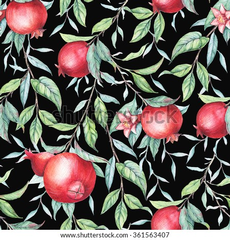 Hand drawn watercolor seamless pattern of pomegranate branch with green leaves isolated on white. Elegant design element for you projects: wedding, birthday, greeting cards, posters, prints, etc - stock photo