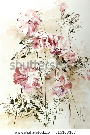 Hand drawn watercolor stylized image of Cosmos flowers in impressionism technique - stock photo