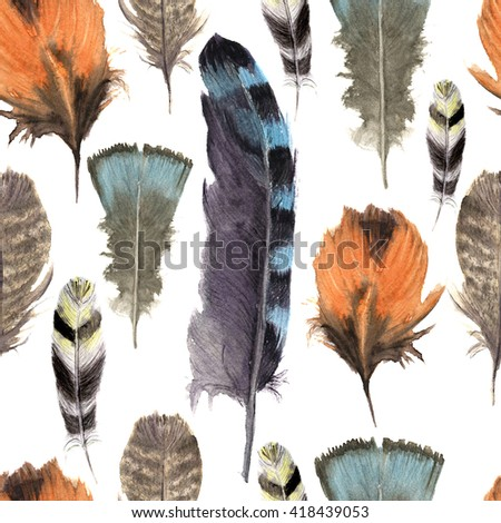 Hand drawn watercolor vibrant feather seamless pattern. Boho feather style. Illustration isolated on white. Bird feather fly design for print, textile, background. Rustic feather. Bright color. - stock photo