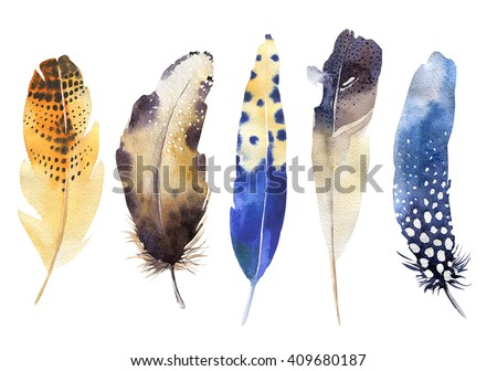 Hand drawn watercolor vibrant feather set. Boho style feather. illustration feather isolated on white. Bird feather fly design for T-shirt, invitation, wedding card.Rustic feathers Bright colors. - stock photo