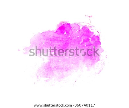 Hand drawn watercolor wash. Colorful paint stain in bright pink. Design element for romantic card and beauty banner with text. - stock photo