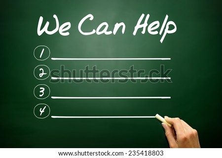Hand drawn WE CAN HELP blank list, business concept on blackboard - stock photo
