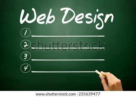 Hand drawn Web Design blank list, business concept on blackboard - stock photo