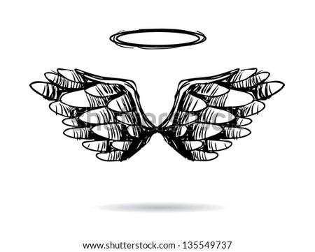 Hand Drawn Wings. jpg - stock photo