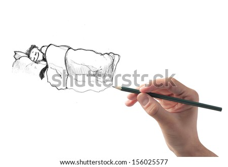 hand draws businessman sleeping safely in the bed - stock photo
