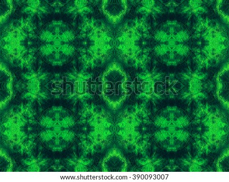 Hand-dyed green and lime fabric with zig zag stitch detail and in a seamless repeat pattern - stock photo