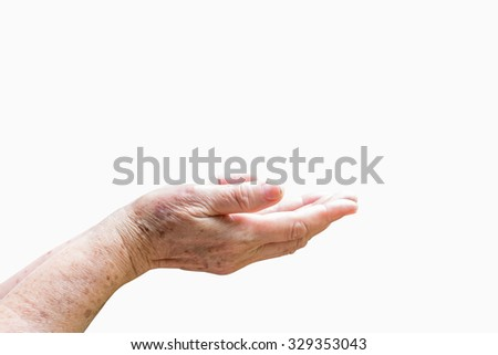 Hand elderly woman open up on .An old woman prayer isolated on white background. - stock photo