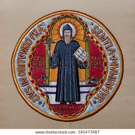 Hand-embroidered Medal of Saint Benedict, made in former Art Needlework Department of Saint Benedict's Monastery, St. Joseph, Minnesota - stock photo