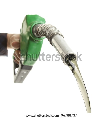 Hand filling gas on white - stock photo