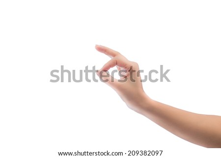 Hand gesture isolated on white background. - stock photo