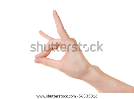 Hand gesture isolated on white background - stock photo