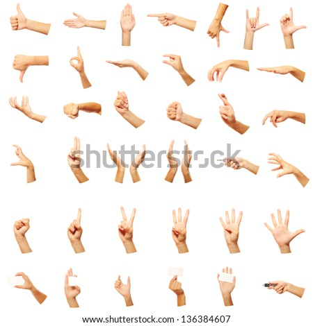 Hand gestures set, white background - stock photo