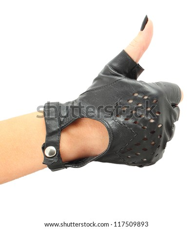 hand gestures vintage  leather gloves - stock photo