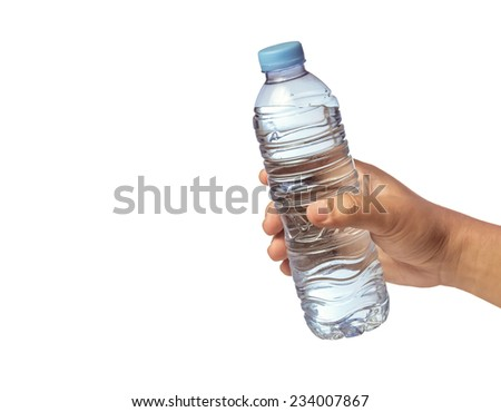 hand giving a bottle of drinking water(isolated white background) - stock photo
