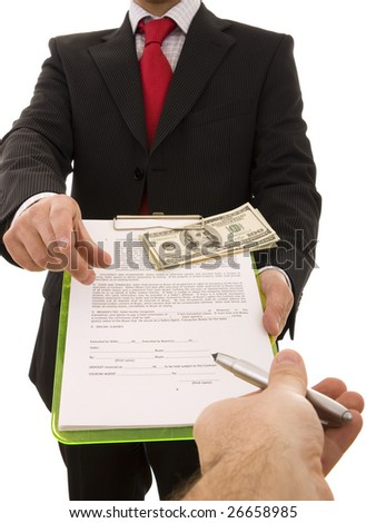 Hand giving a pen to a businessman to sign a contract (home made contract) - stock photo