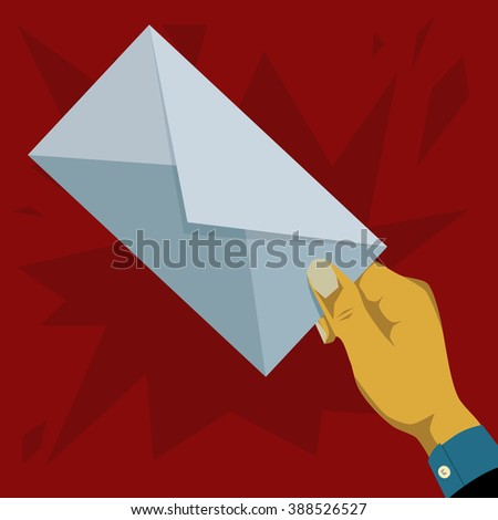 Hand giving an envelope - stock photo