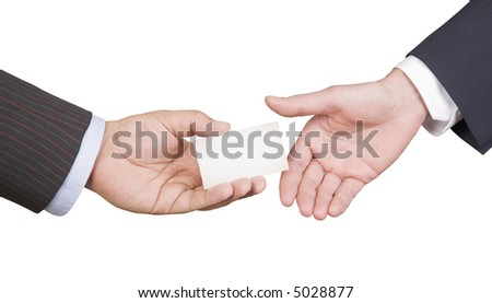 Hand giving business card. Men passes business card to partner. Photo on white with clipping paths. - stock photo
