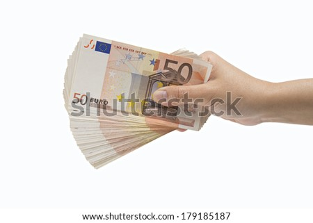 Hand giving Euro banknotes, isolated on white background - stock photo