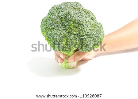 hand giving green broccoli isolated,good  health concept - stock photo