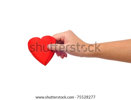 Hand giving heart isolated on white - stock photo
