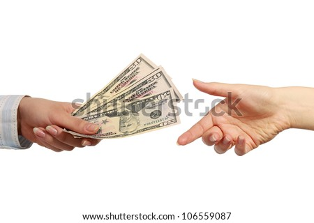 Hand giving money, isolated on white background - stock photo