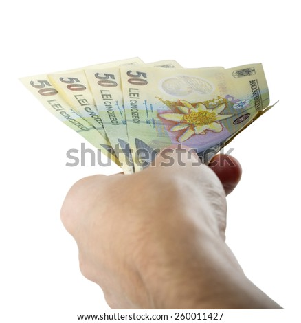 Hand giving money isolated on white background with clipping path - stock photo