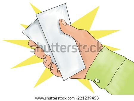 Hand giving or receiving money (hand giving money, hand with money, hand holding banknotes, money in the hand) isolated over white background with yellow star. - stock photo
